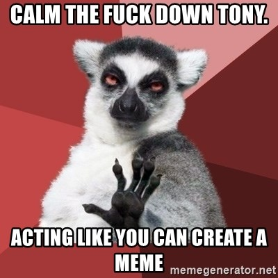 Chill Out Lemur - CALM THE FUCK DOWN TONY. ACTING LIKE YOU CAN CREATE A MEME