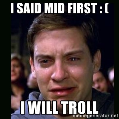 crying peter parker - i said mid first : ( i will troll