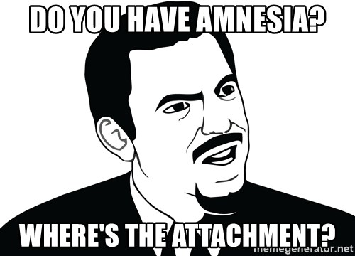 Are you serious face  - Do you have amnesia? Where's the attachment?