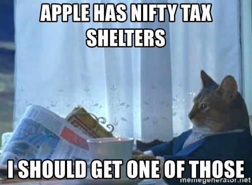 newspaper cat realization - APPLE HAS NIFTY TAX ShELTERS I should GET ONE OF THOSE