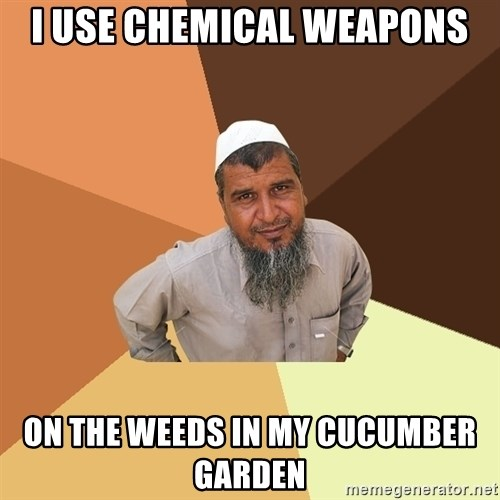 Ordinary Muslim Man - I use chemical weaponS On The weeds in my cucumber garden