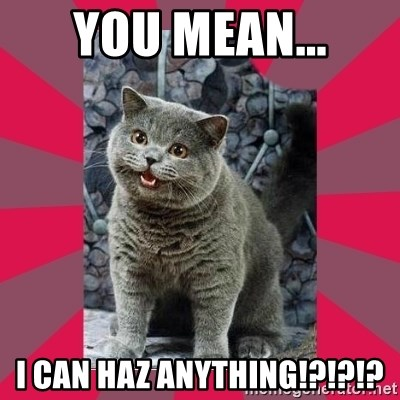 I can haz - YOU MEAN... I CAN HAZ ANYTHING!?!?!?