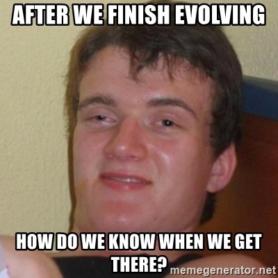 Really Stoned Guy - after we finish evolving how do we know when we get there?