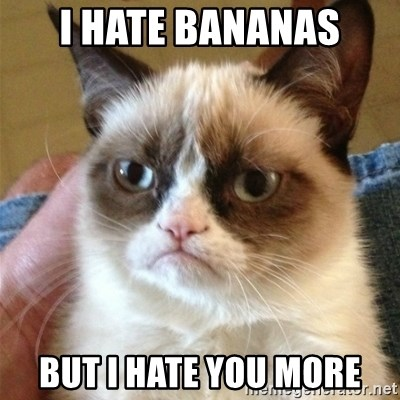 Grumpy Cat  - i hate bananas but i hate you more