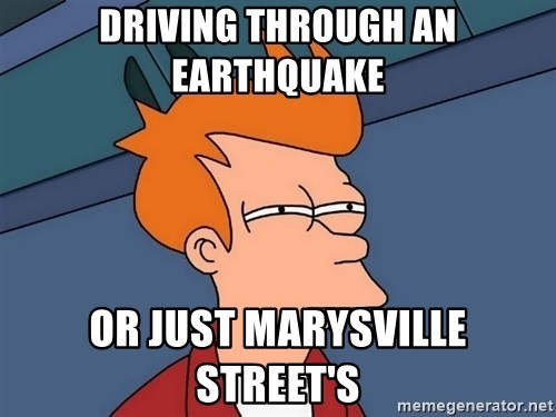 Futurama Fry - driving through an earthquake or just marysville street's