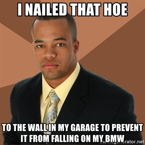 Successful Black Man - i nailed that hoe to the wall in my garage to prevent it from falling on my bmw