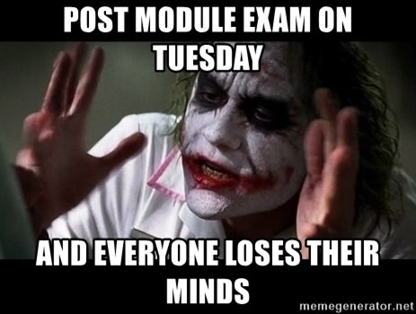 joker mind loss - POST MODULE EXAM ON TUESDAY AND EVERYONE LOSES THEIR MINDS