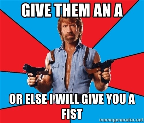 Chuck Norris  - Give them an A Or else i will give you a fist
