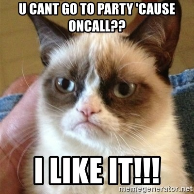 Grumpy Cat  - U cant go to party 'cause oncall?? I like it!!!