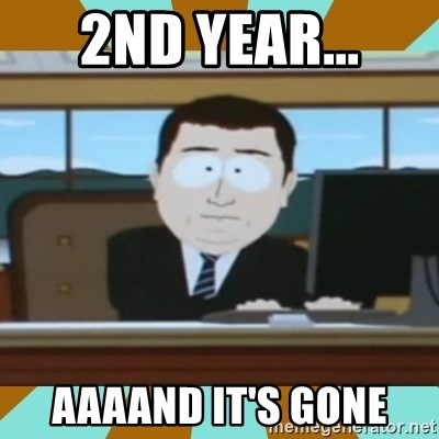 And it's gone - 2ND YEAR... AAAAND IT'S GONE