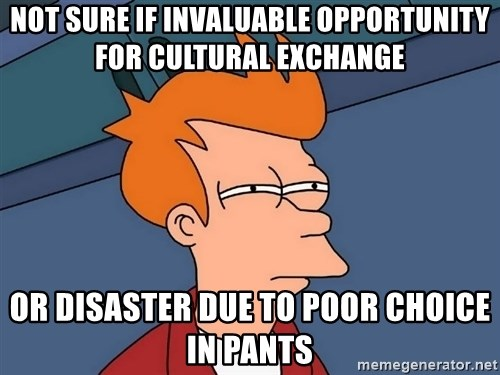 Futurama Fry - Not sure if invaluable opportunity for cultural exchange or disaster due to poor choice in pants