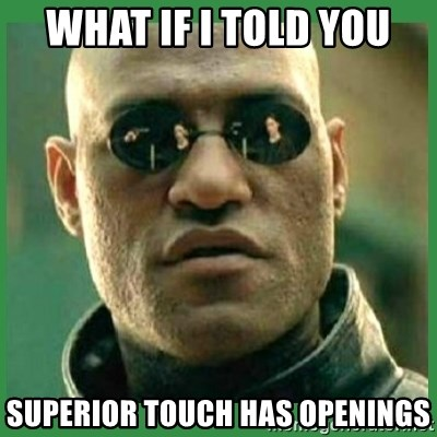 Matrix Morpheus - WHAT IF I TOLD YOU Superior Touch has openings