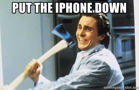 Patrick Bateman With Axe - put the iphone down