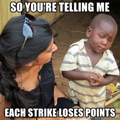 So You're Telling me - so you're telling me each strike loses points