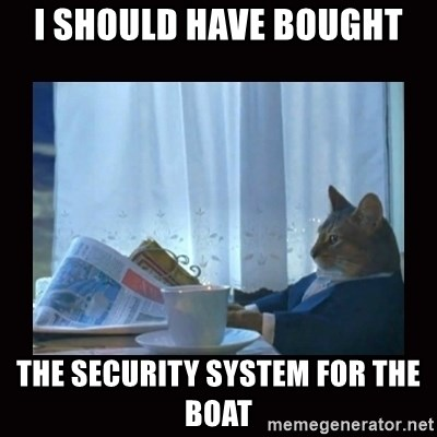 i should buy a boat cat - i should have bought the security system for the boat