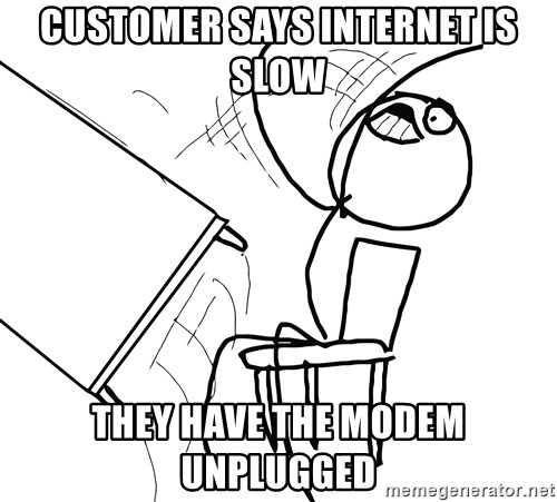 Desk Flip Rage Guy - Customer says internet is slow they have the modem unplugged