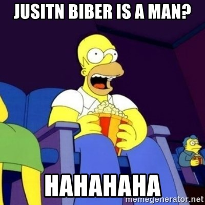 Homer Simpson Popcorn - jusitn Biber is a man? hahahaha
