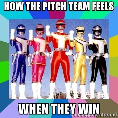 power rangers - how the pitch team feels when they win