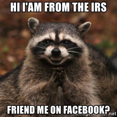 evil raccoon - HI I'AM FROM THE IRS FRIEND ME ON FACEBOOK?
