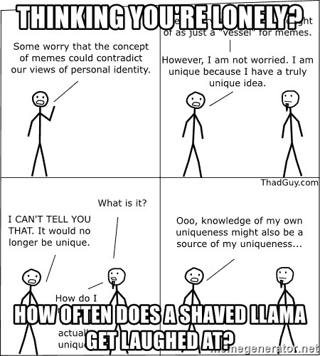 Memes - Thinking you're lonely? how often does a shaved llama get laughed at?