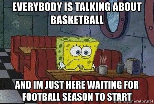 Coffee shop spongebob - everybody is talking about basketball and im just here waiting for football season to start