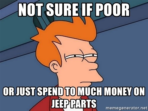 Futurama Fry - Not sure if poor Or just spend to much money on jeep parts