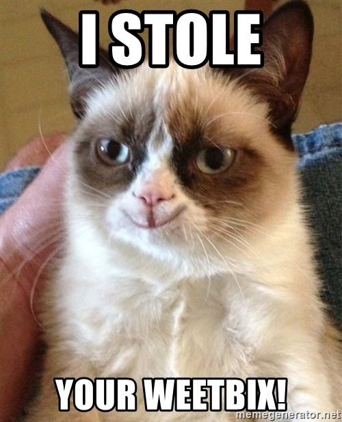 Grumpy Cat Happy Version - I STOLE YOUR WEETBIX!