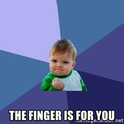 Success Kid -  The finger is for you