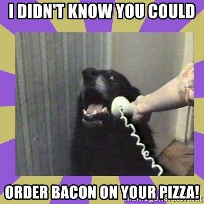 Yes, this is dog! - I DIDN'T KNOW YOU COULD  ORDER BACON ON YOUR PIZZA!