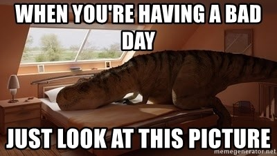 T Rex Makes Bed - WHEN YOU'RE HAVING A BAD DAY  JUST LOOK AT THIS PICTURE