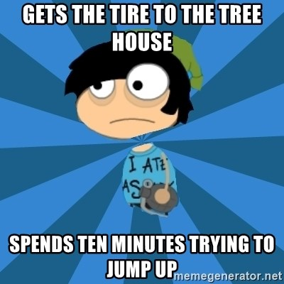 Poptropican - Gets the tire to the tree house Spends ten minutes trying to jump up