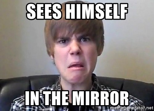 Justin Bieber 213 - sees himself in the mirror