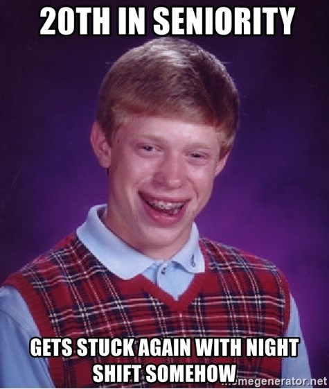 Bad Luck Brian -  20th in Seniority Gets stuck again with night shift somehow