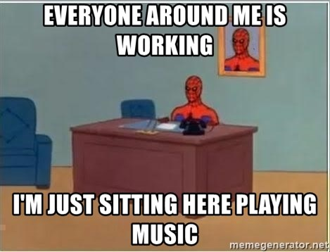 Spiderman Desk - Everyone around me is working I'm just sitting here playing music
