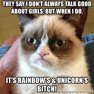 Grumpy Cat  - They say I don't always talk good about girls, but when I do,  It's Rainbow's & Unicorn's Bitch!