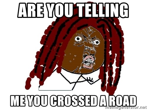Y U No - are you telling  me you crossed a road