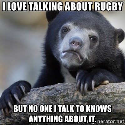 Confession Bear - I love talking about rugby but no one I talk to knows anything about it.