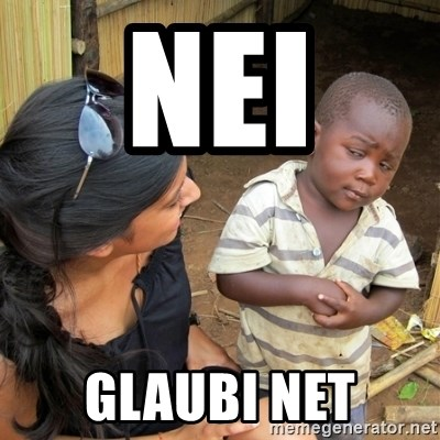 skeptical black kid - NEI  GLAUBI NET