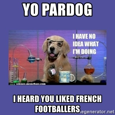 I don't know what i'm doing! dog - YO Pardog  I heard you liked french footballers