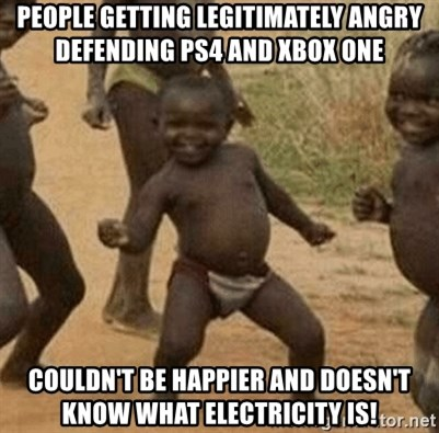 Success African Kid - People getting legitimately angry defending ps4 and xbox one Couldn't be happier and doesn't know what electricity is!