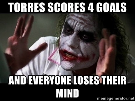 joker mind loss - torres scores 4 goals  and everyone loses their mind
