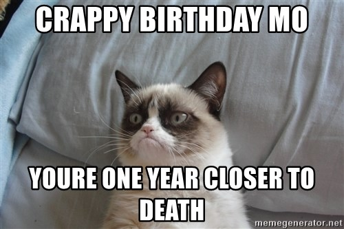good grumpy cat 2 - crappy birthday mo youre one year closer to death