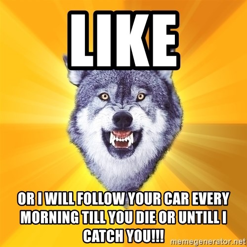 Courage Wolf - Like Or I will follow your car every morning till you die or untill I catch you!!!