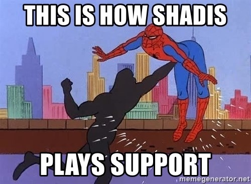 crotch punch spiderman - this is how shadis  plays support