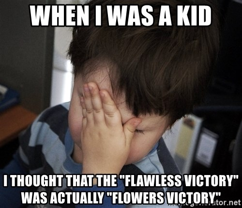 "Confession Kid - When I was a kid I thought that the ""Flawless Victory"" was actually ""Flowers Victory"""