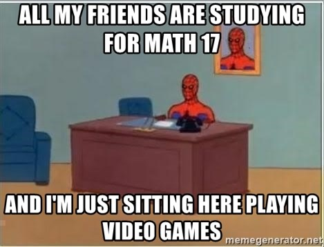 Spiderman Desk - All my friends are studying for Math 17 and I'm just sitting here playing video games