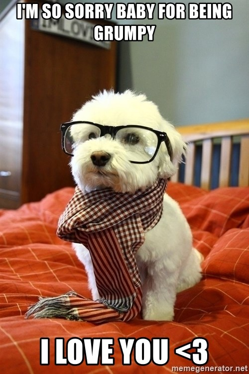 hipster dog - I'm so sorry Baby for being grumpy I love you <3