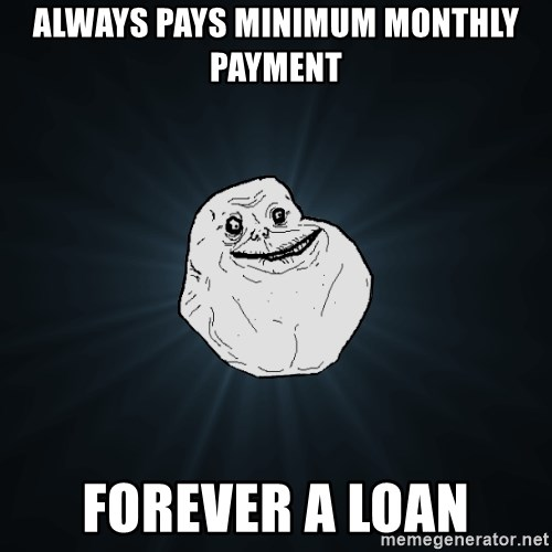 Forever Alone - always pays minimum monthly payment forever a loan