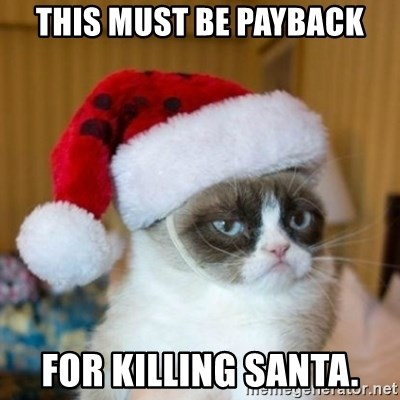Grumpy Cat Santa Hat - This must be payback for killing santa.
