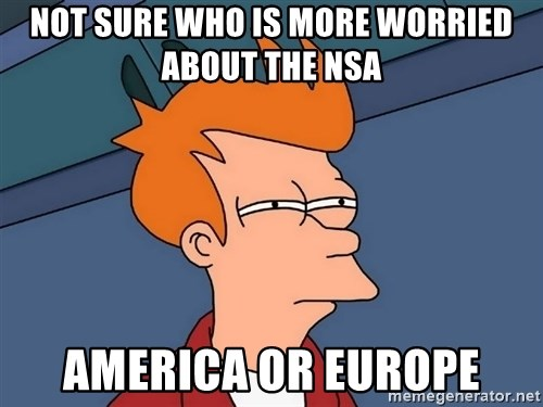 Futurama Fry - Not sure who is more worried about the nsa America or europe